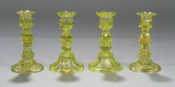 Two Pairs of Canary Yellow Pressed Glass Candlesticks